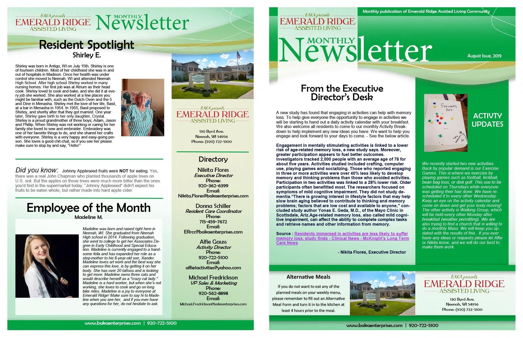 Emerald Bay Newsletter August 2019