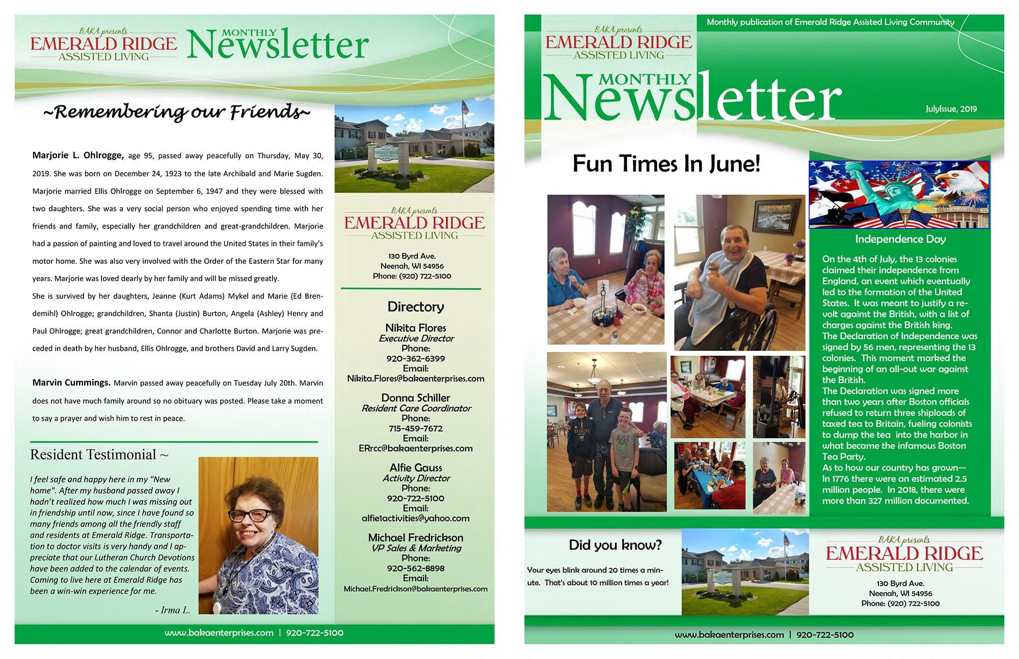 Emerald Bay Newsletter July