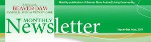 Beaver Damn Assisted Living & Memory Care Newsletter Header